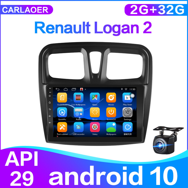 Android 10.0 For Renault Logan 2 Sandero 2 2014 2015 2016 2017 2018 2019 Car Radio Multimedia Video Player Navigation GPS 2din
