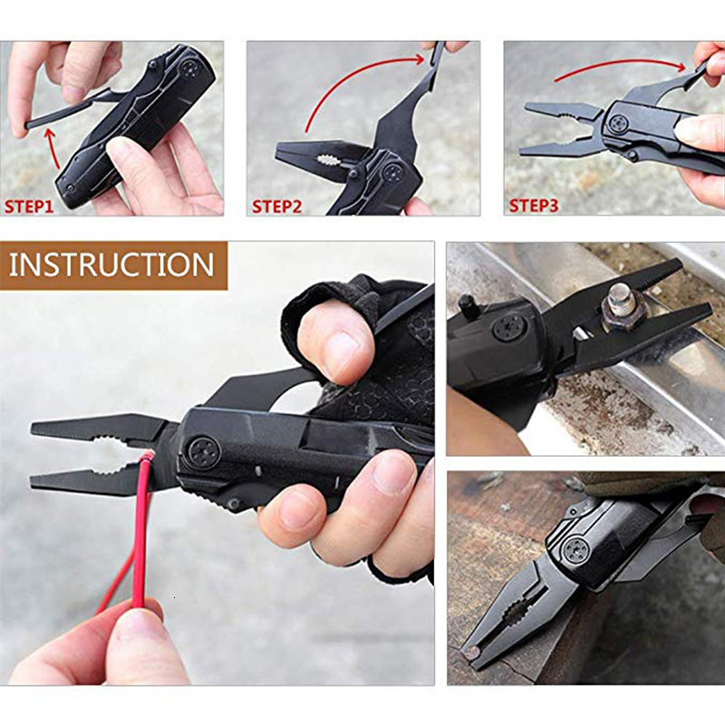 QUK Pliers Multitool Folding Pocket EDC Camping Outdoor Survival hunting Screwdriver Kit Bits Knife Bottle Opener Hand Tools1