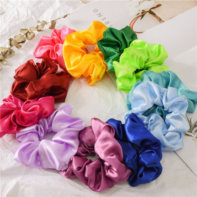 20Pcs Korea Satin Elastic Hair Bands Scrunch Ponytail Holder Scrunchy Hair Ties Solid Color Women Girls Headwear Ponytail Holder