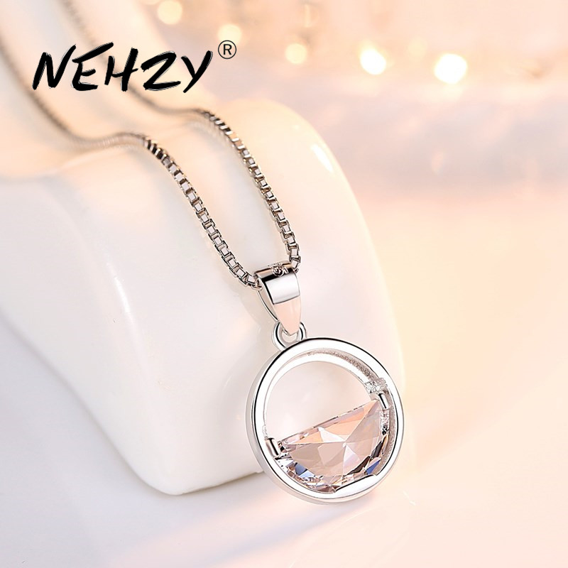 NEHZY 925 sterling silver women's fashion new jewelry high quality crystal zircon round retro simple pendant necklace long 45CM
