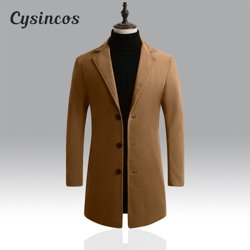 CYSINCOS Wool Jacket Windbreaker Blend Mens Coats Autumn Men's Winter High-Quality Brand title=