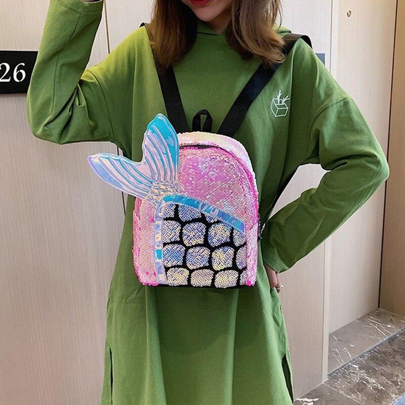 Lovely Bling Mermaid Tailed Sequins Small Backpack Girls Cute Gift Mini Travel Bag Small Women School Knapsack