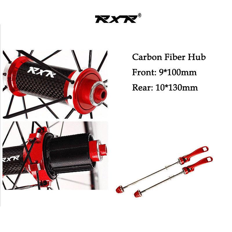 RXR 700C Bike Wheelset Carbon Hub Road Bike Bicycle F&R Wheels Wheelset Clincher Sealed Bearings 7-11 Speed V Brake (9)