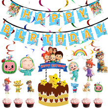 Cupcake Toppers Party-Supplies Birthday-Cake-Decorations Cocomelon-Theme Happy-Birthday
