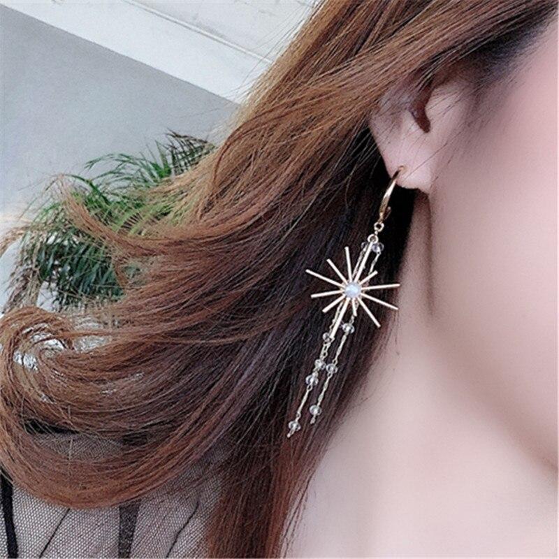 Fashion pearl tassel earrings Simple C shape chain glass earrings Bohemia Crystals dangle earrings for women Nightclub jewelry