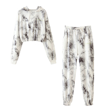 Female Tracksuit Pants-Set Hoodies Tie Dye Streetwear Print Plus-Size Women Full-Sleeve