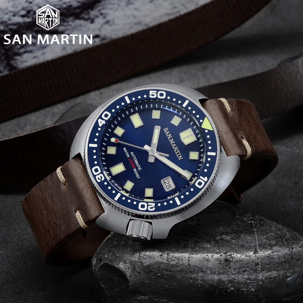 San Martin Upgraded Version Turtle Diver Watch 20 Bar Stainless Steel Men Automatic Mechanical Sapphire Horween Leather Luminous