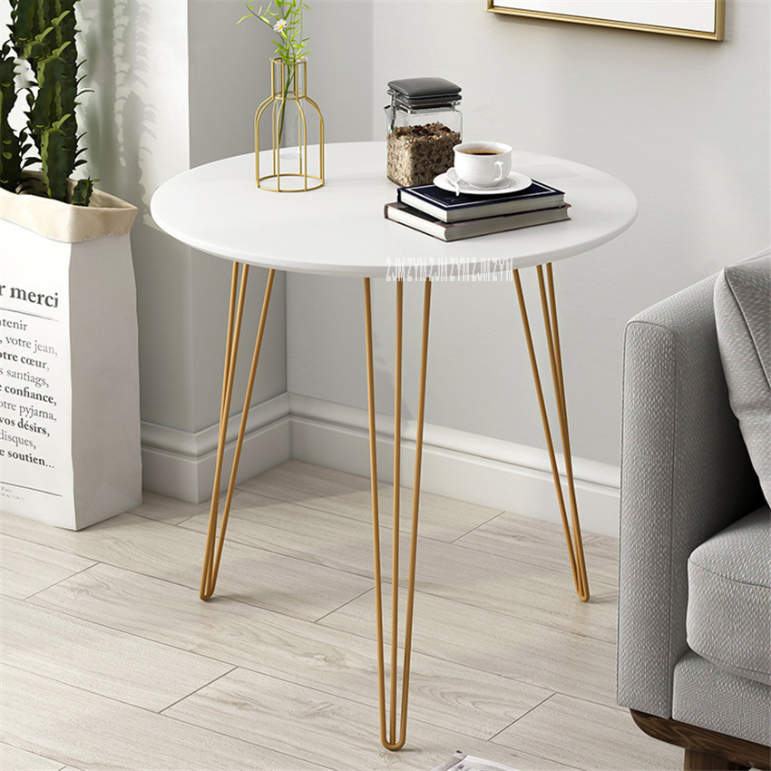 H70 Small Round lron Tea Table Simple Modern Creative Sofa Side Table Living Room Balcony Small Storage Coffee Negotiation Table