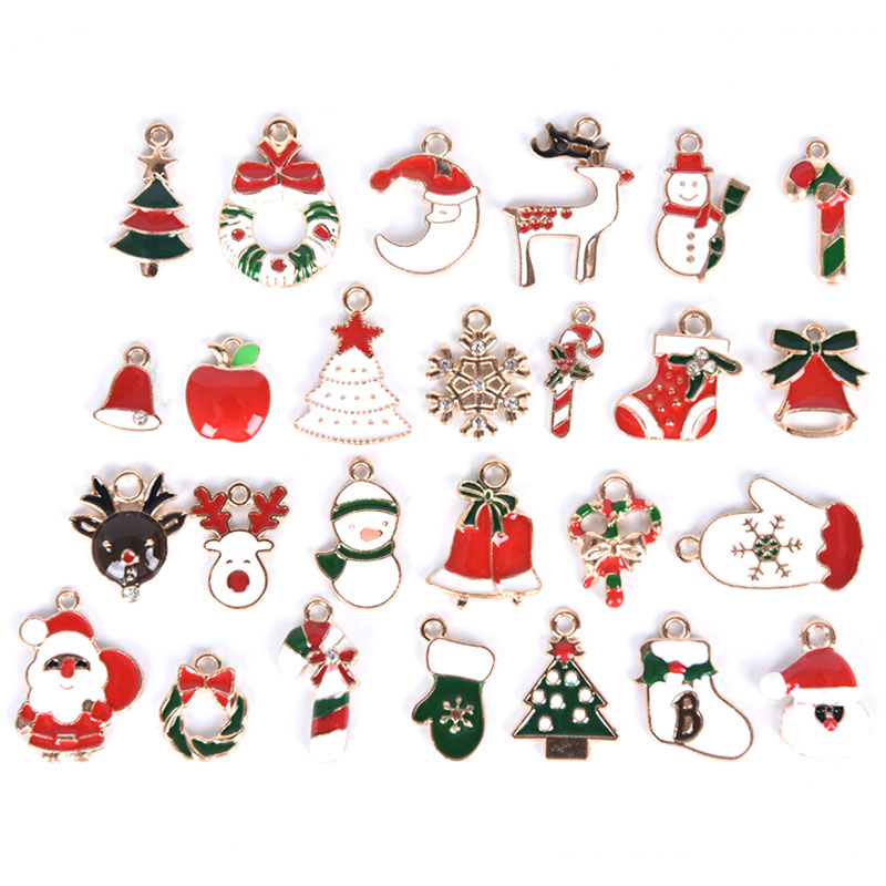 1pack Mix Christmas Series Alloy Pendant, Santa Claus Gingle Enamel Charms Hair Bow Hand Material DIY Earrings Accessories