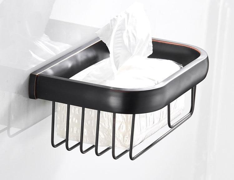 欧贝洁具纸巾篓全铜复古黑色卫浴挂件批发厂家纸巾架抽