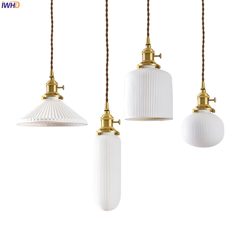 IWHD Nordic Style Ceramic Pendant Lights Fixtures Bedroom Dinning Living Room Light Modern LED Pendant Lamp Lighting Luminaire