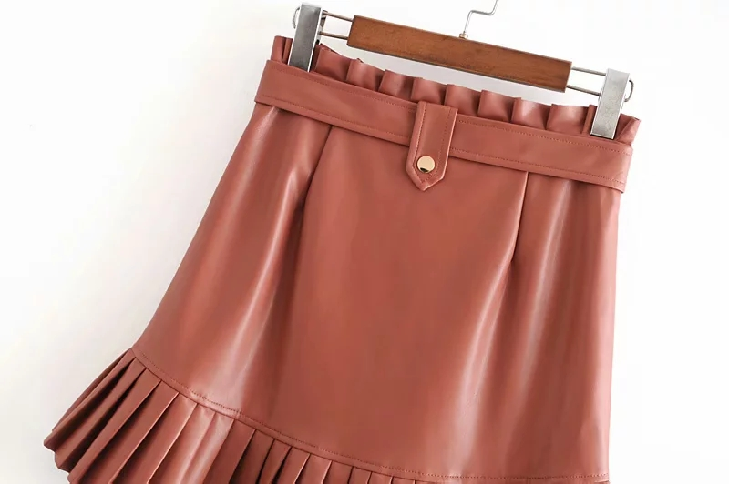 Stylish Chic Pu Leather Mini Skirt with Belt Za Fashion Women High Waist Pleated Hem Skirts Casual Streetwear Party Faldas 18