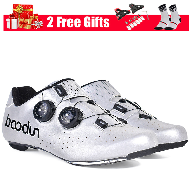 BOODUN Reflective Men Road Bike Shoes Carbon Fiber Sole Ultralight Cycling Shoes Self-lock Triathlon Road Bicycle Racing Shoes