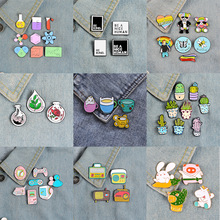 Themes Pins-Sets Brooches Backpack Lapel-Pin Plant-Game Science-Animal Bagde Metal Cartoon