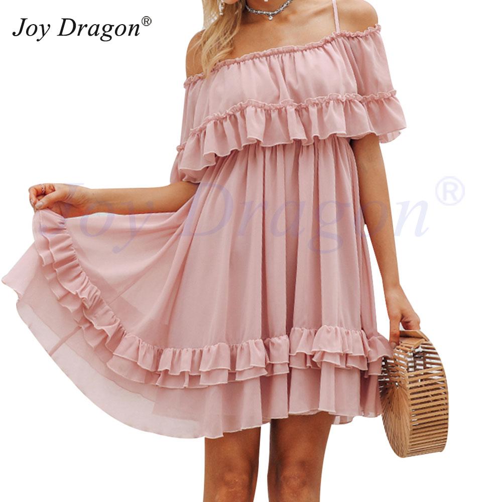 Многослойное Платье С Открытыми Плечами