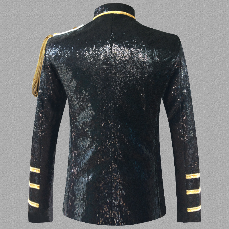 Sequin Embellished Blazer Jacket Men Stage Party Mens Suit Jacket Military Dress Tuxedo Men Blazer Singer Show DJ Costume Homme