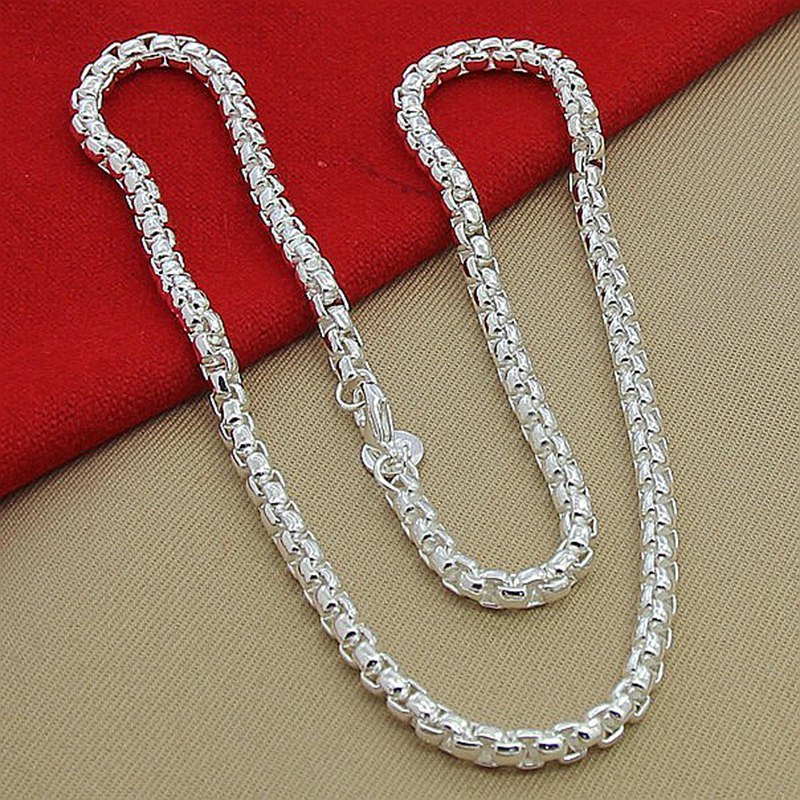 Moonnight Store Wholesale Price 6MM Full Sideways Necklace for Women Men 925 Sterling Silver Jewelry Snake Chain Necklaces