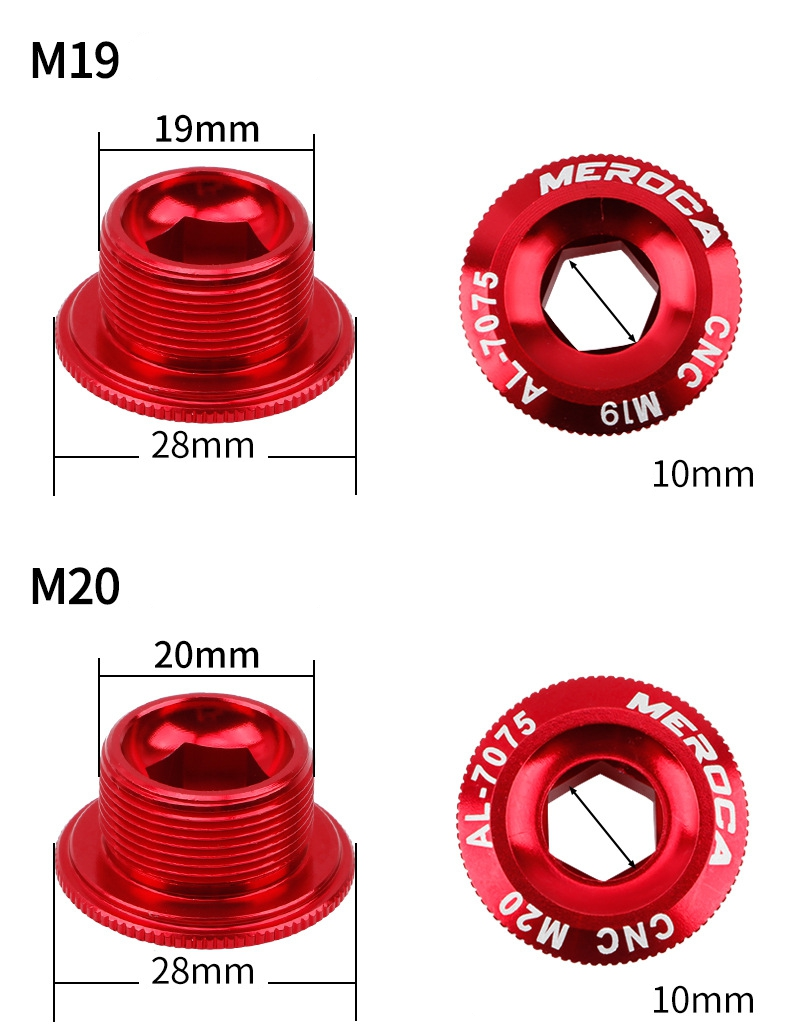 2x Bicycle ArmCrank Fixing Chainwheel Red Crankset Arm Bolt M20 for Shimano