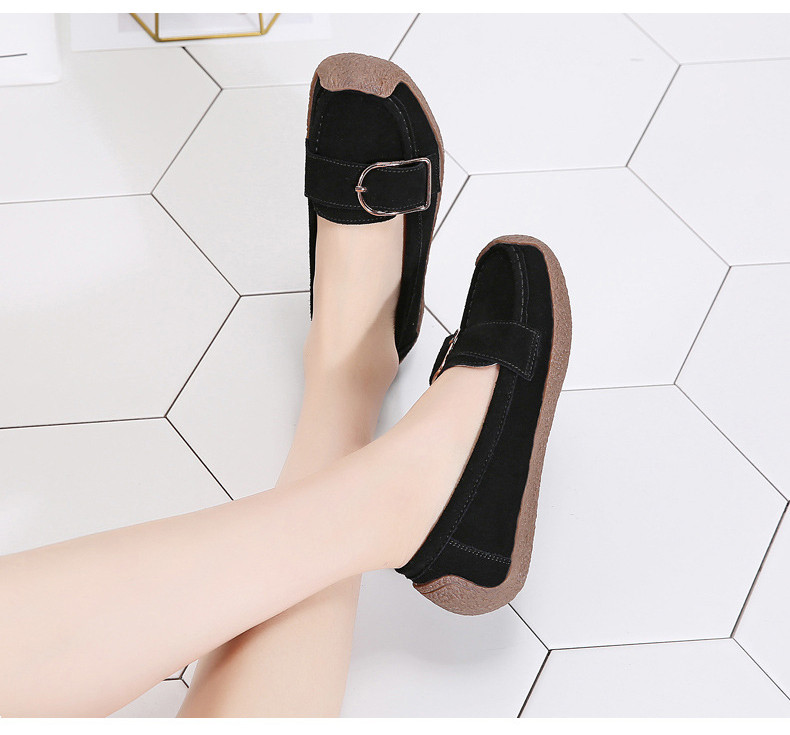 HX 7038-Spring Autumn Cow Suede Leather Women Flats-14