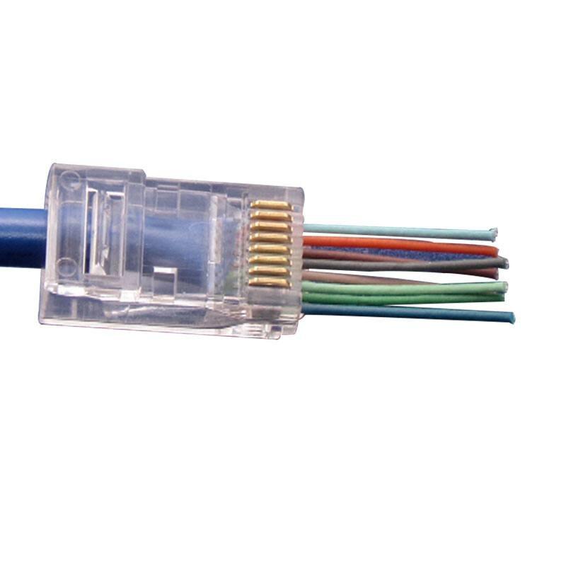 100Pcs RJ45 Network Cable Modular Plug CAT5e 8P8C Connector End Pass Through EZ