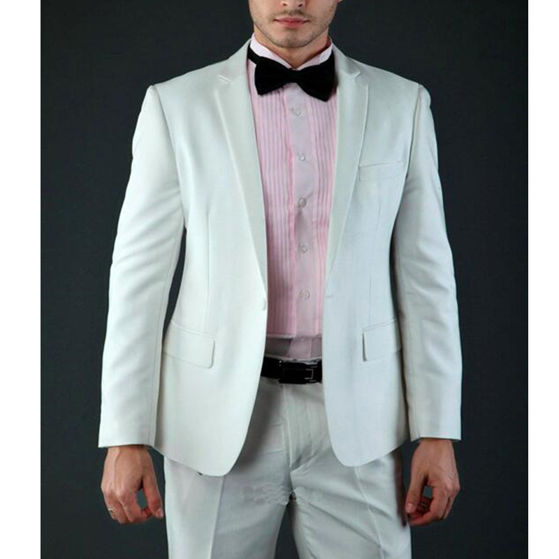 Temperament Style White Notched Lapel One Button Three Pockets Groom Tuxedos Wedding Groomsman Men Suits (jacket+pants)