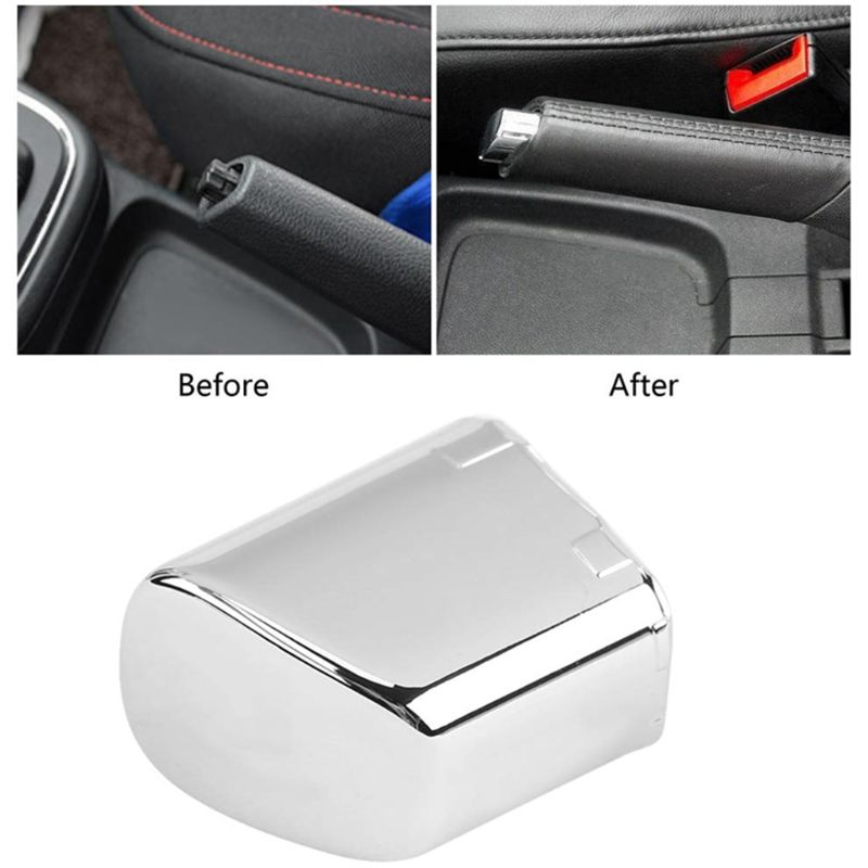1pc Car Handbrake Lever Parking Button Cover Chrome Decoration Shell Car Styling 87HE title=