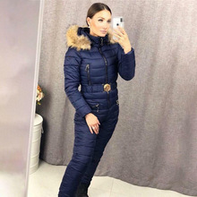 Jumpsuits Ski-Suit Hooded Zipper One-Piece Straight Winter Casual Women's New-Fashion