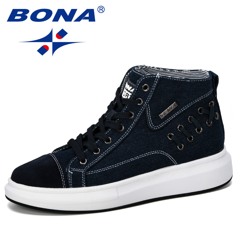 BONA 2019 Men's Vulcanize Shoes Men Spring Autumn High Top Fashion Sneakers Lace-Up Comfortable Solid Colors Man Casual Shoes