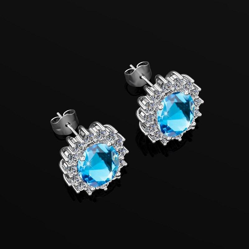 Silver 925 Gemstone Earrings Aquamarine Diamond Earings Studs For Wedding Birthstone Diy Branded Fine Jewellery Vogue Gifts