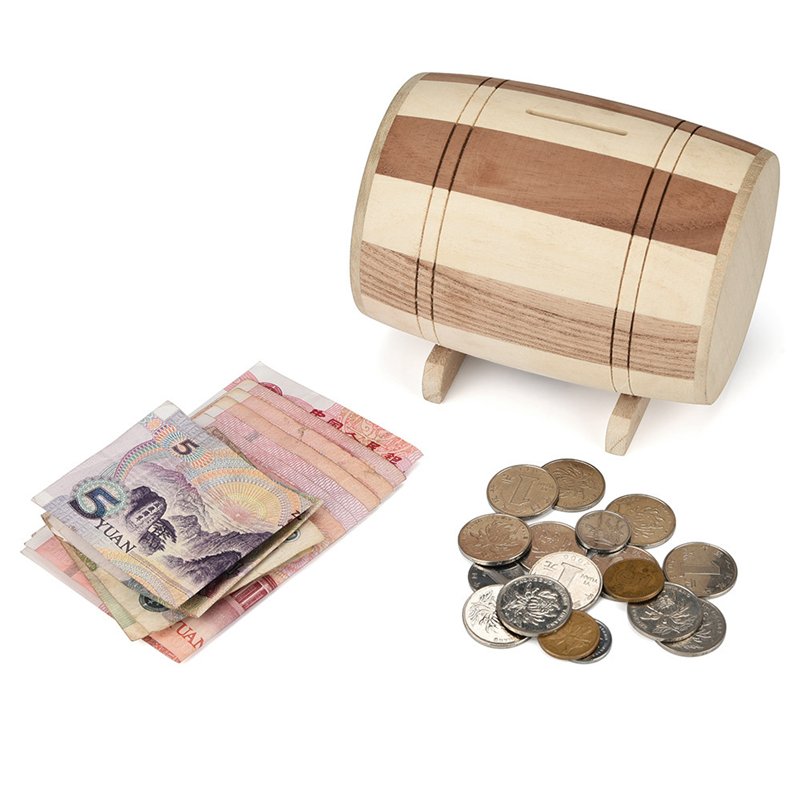 Wooden Piggy Bank Safe Money Box Savings Wine Barrel Wood Carving Handmade Essential Dressing Woody texture