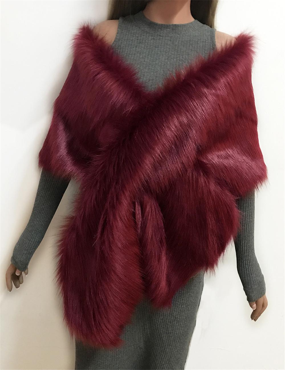 The autumn and winter new imitation fur big cape neck scarf multi-color joker scarf bride dress cross cape (7)