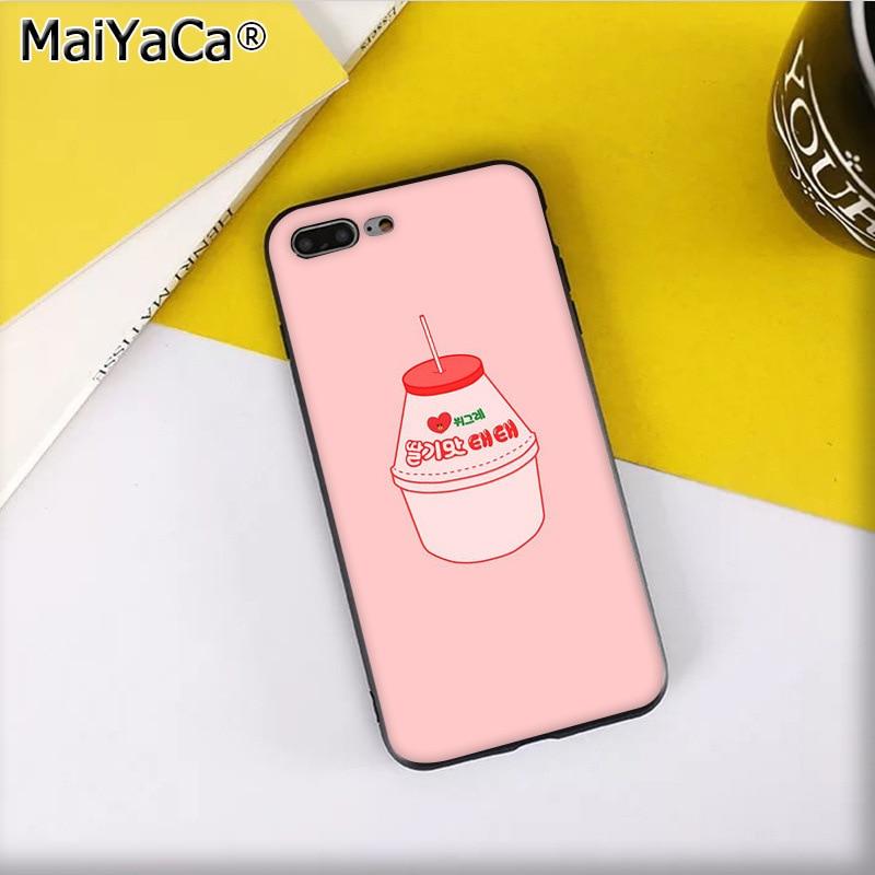 Cute Korean Style Pink Strawberry Peach Milk Drink