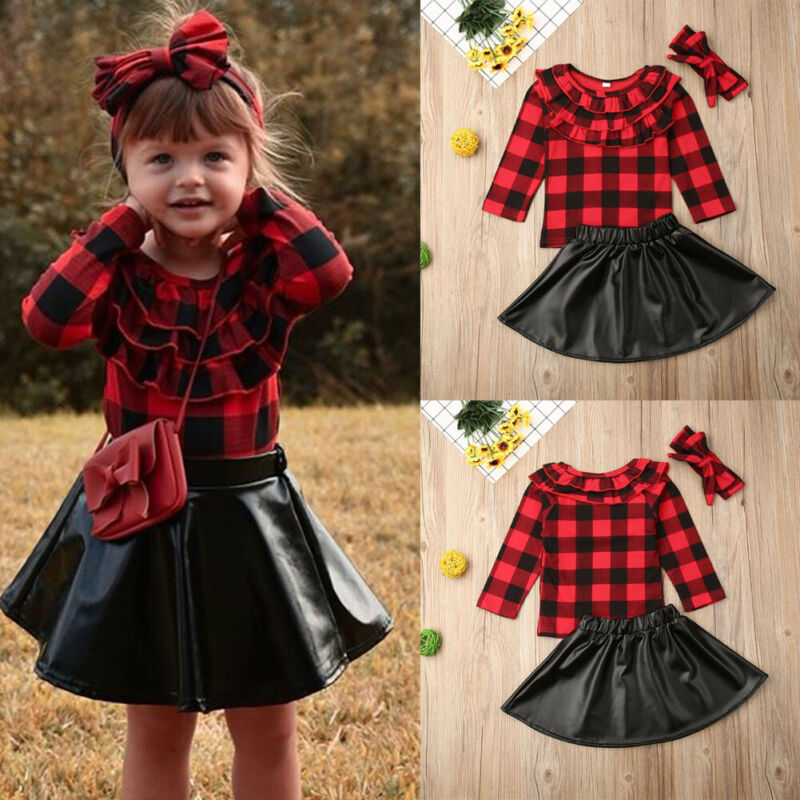 2PCS Outfit Set for 0-4 Baby Girls Toddler Infant Baby Girls Solid Ruffle Tops Plaid Strap Skirt Set