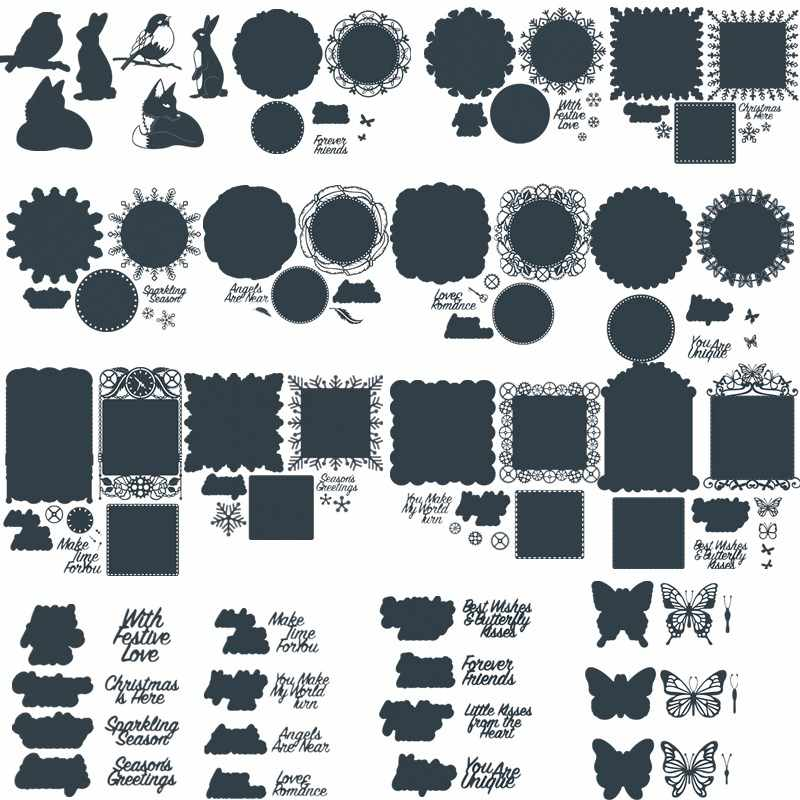 Scrapbooking Rabbit Frame Square Metal Cutting Dies Greeting Cards Die 3D DIY