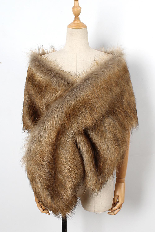 The autumn and winter new imitation fur big cape neck scarf multi-color joker scarf bride dress cross cape (15)