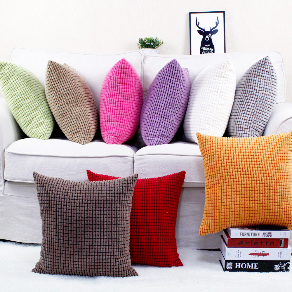 2Pcs Living Coral Throw Pillows Covers Corn Corduroy Striped Sofa Decor 18x18 in