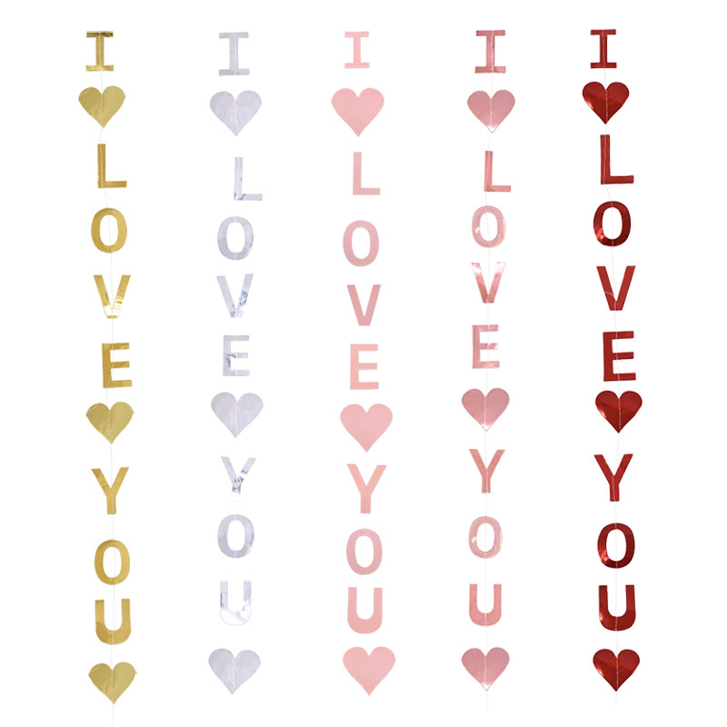 I LOVE YOU Hanging Garland Red Heart Paper Pull Flower Valentine