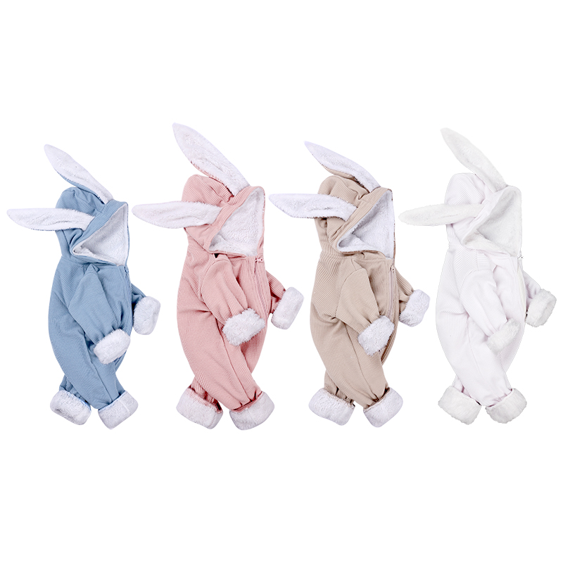 winter baby girl clothes long sleeve hooded rabbit ear Romper new born boy Jumpsuit Fleece costume unisex 0-18M zipper blue pink