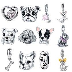 925 пробы, серебро, история собаки, пудель, щенок, французский бульдог, бусины, шарм, подходит для бисера, подвески, серебро 925, оригинальный бра...