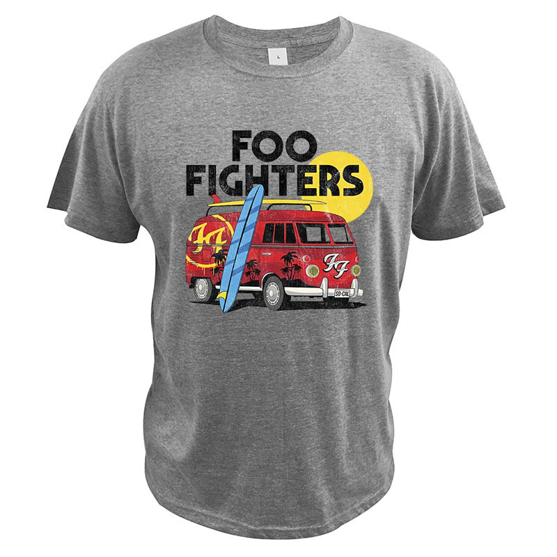 Foo Fighter Rock Band T Shirt Camper Van Summer Holiday Time Surfing Car Digital Print Music Crew Neck T-Shirt