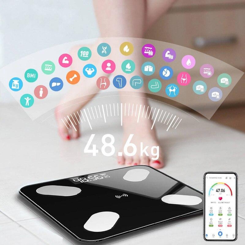Balance connectée avec mesure du taux de graisse corporelle