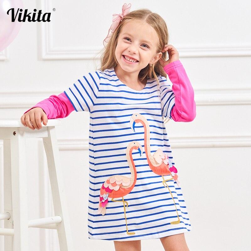 Kids Baby Girl Cartoon Animal Unicorn Print Long Sleeve Tutu Dress Mini Outfits