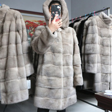 Jacket Outwear Fur-Coats Hooded Mink Velvet Female Plush Natural Winter Women Luxury
