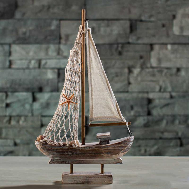 Mediterranean Style Wood Ornament Fish Net Sailing Model Desktop Xmas Gift 03