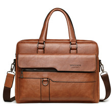 Office Handbag Briefcase-Bag Laptop-Bag Shoulder Business 14inch Men High-Quality Famous-Brand