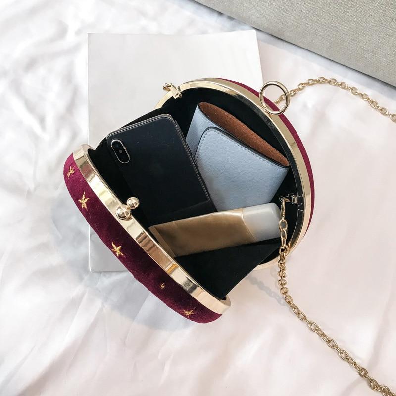 Starry Sky Circular Fashion Suede Shoulder Bag Chain Belt Women/'S Crossbody Messenger Bags Ladies Purse Female Round Handbag Blu