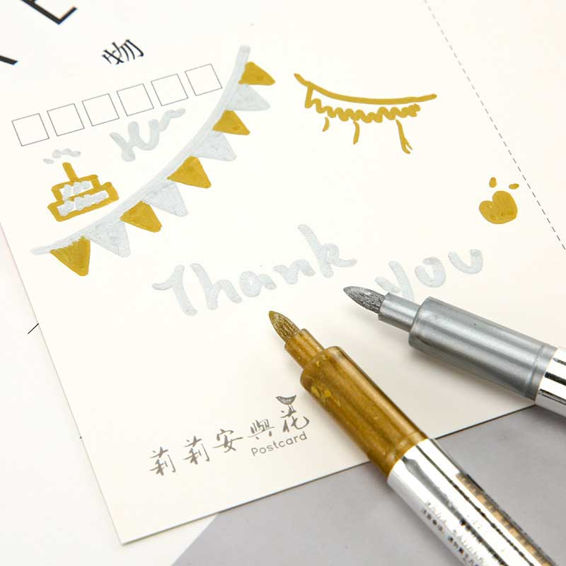 1.5mm DIY Metalic Marker Pens Permanent Paint Metal Fabric Markers Pens Sharpie Gold Silver Craftwork Pen Art Painting Supplies