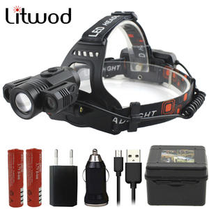 Linterna Frontal T6 faro 20000 l/úmenes 4 modo LED faro USB potencia recargable de la cabeza de caza luz de la cabeza