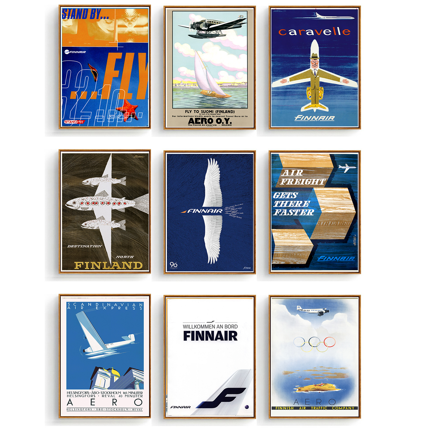 VINTAGE EUROPE UNITED AIR LINES TRAVEL A4 POSTER PRINT