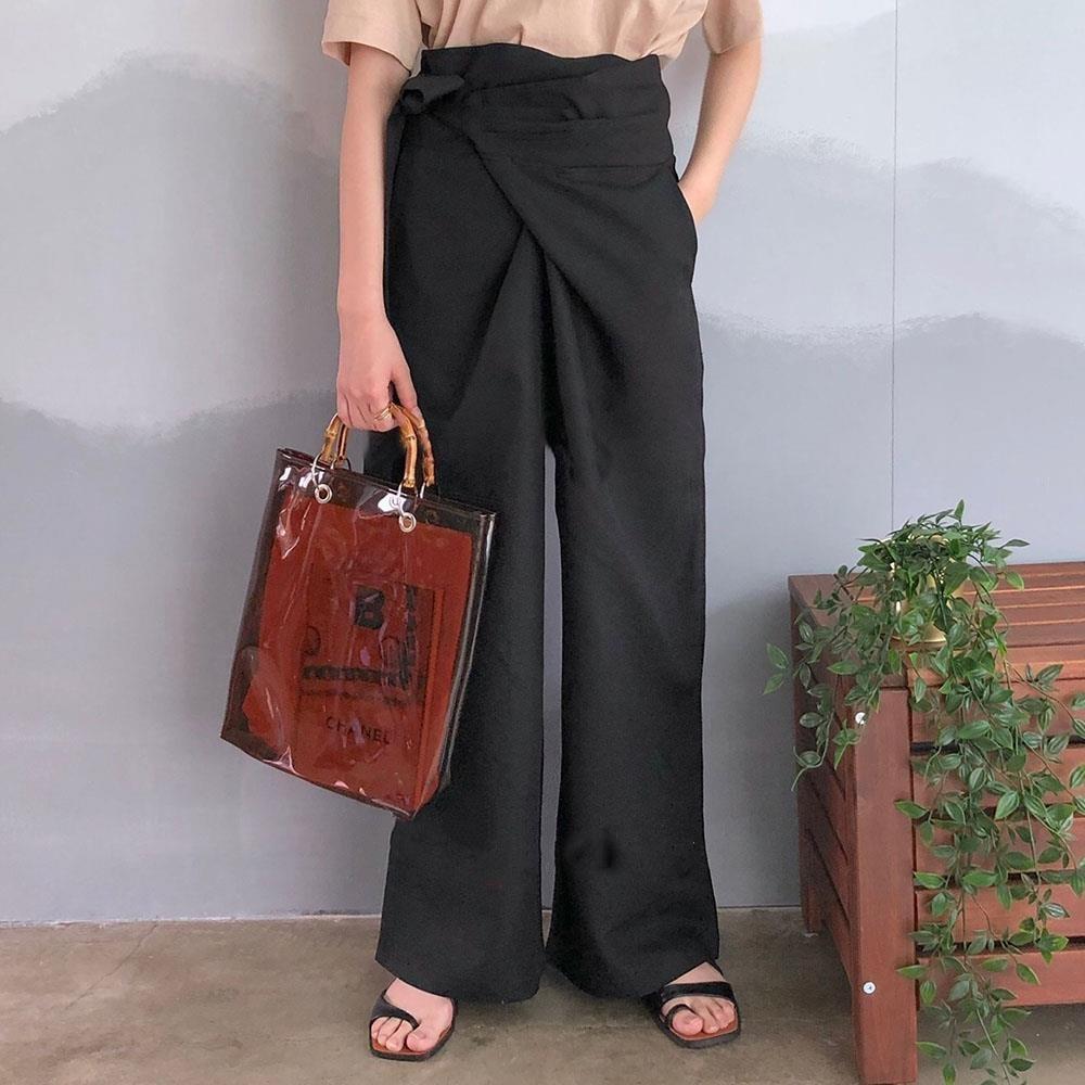 H496bcbd58b424c308954e2211b8cb81e8 - Spring / Autumn Full Length Side Bow Tie Wide Leg Pants